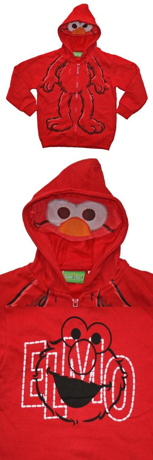 Sesame Street Elmo Toddler Zip up Character Hoodie (2T) Zip up hooded sweatshirt. Elmo character, elmo mesh face attached hood. Elmo graphics on front and back. Cotton/polyester.  #Sesame_Street #Apparel