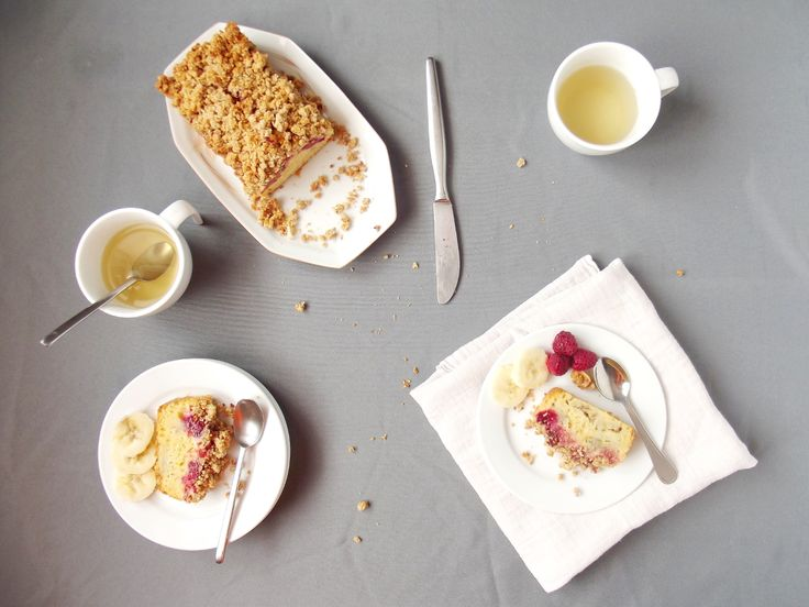 Cake crumble banane framboise