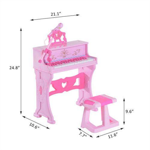 Kids Electronic Piano Keyboard Microphone Stool Karaoke Set Musiacal Girls Toy #SmartDealsMarket