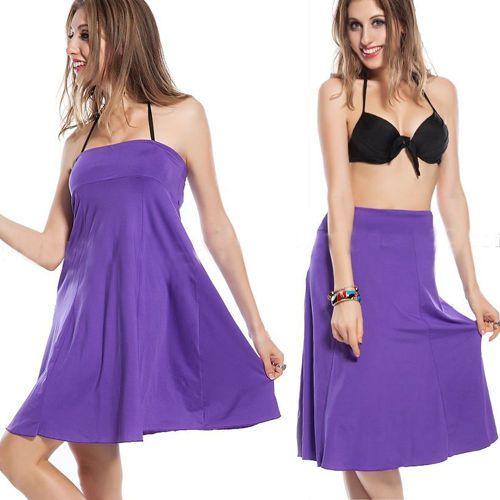 Purple-Women-Bandeau-Strapless-Dress-Bikini-Cover-Up-Summer-Swimwear-Beach-Skirt