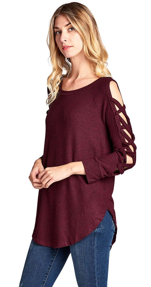 Silver Icing Learn The Ropes Top #silvericing #coldshoulder #coldshouldertop #top #crisscross #wine #winterfashion #winterfashion2017 #trendy #trending #streetsyle #shopping #sideslits #knitfabric #partyready