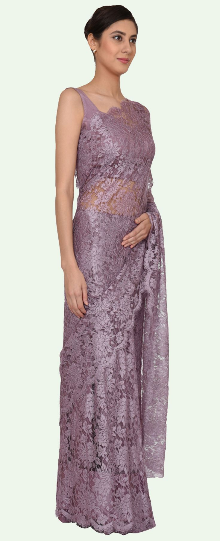 Lilac Mauve French Chantilly Lace Saree With Satin Crepe Blouse