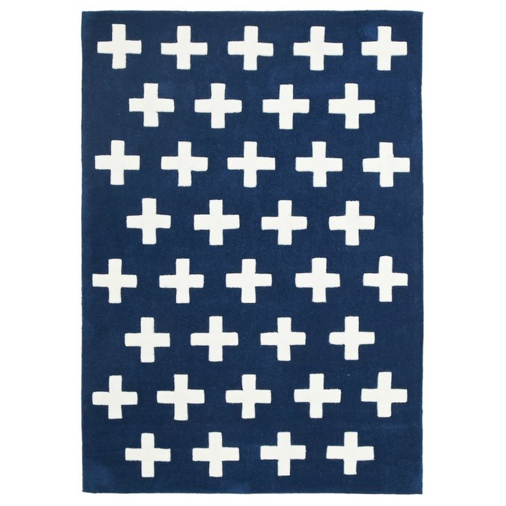 Portobello Crosses Navy Kids Rug