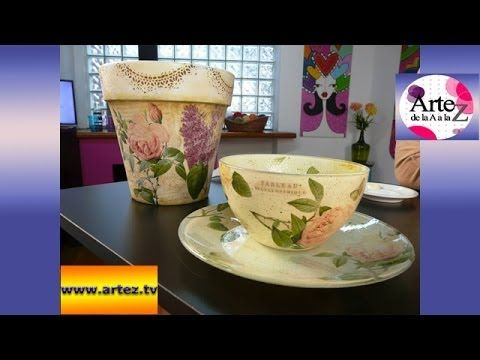 Técnica de doble decoupage en vidrio - YouTube