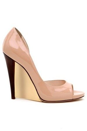 Nude Patent Peep-toe Wedge High Heels - Casadei
