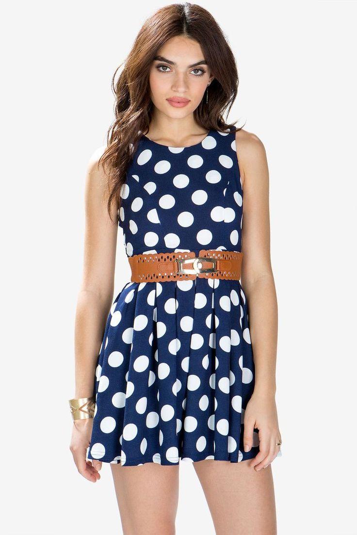 Dorathy Dot Belted Flare Dress