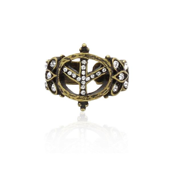 """Clo Clo London - Love & Peace. Gothic style ring with midi rhinestone Width:1.7cm(.7"""") Size: UK-Q / US-8 Two colours options"""