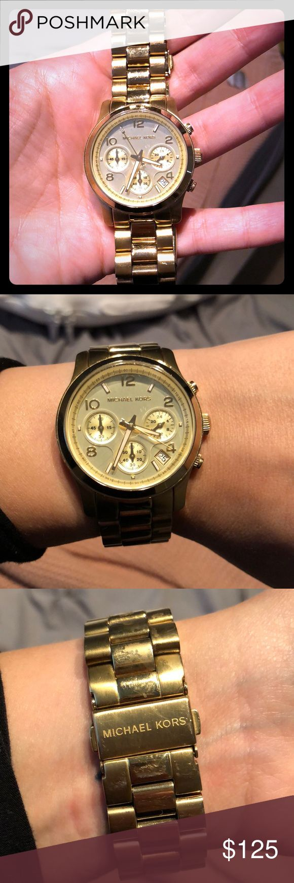 """Michael Kota Icon Watch in Gold Used Michael Kors oversized watch in Gold. No box, band is 6.6-7"""". I do not have the box or extra links. Michael Kors Accessories Watches"""