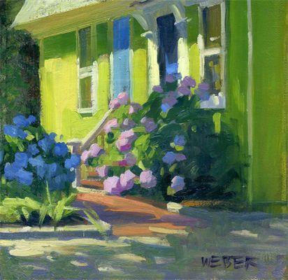 Hydrangea house original fine art for sale kathy for Original fine art paintings for sale