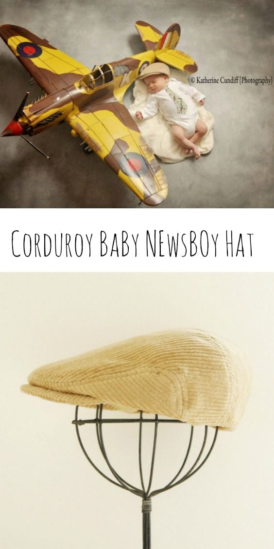 Great newborn photography prop tan corduroy flat cap. It is great for vintage or country set up photo shoot.