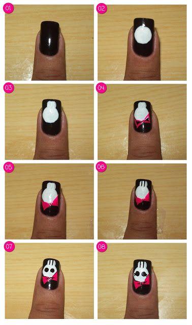 How to do halloween nail art / Especial Halloween - Unhas de Caveirinha Fashion