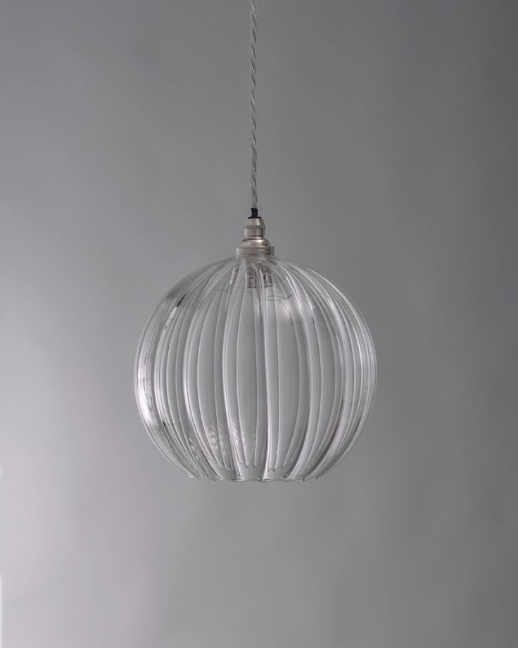 hereford ribbed glass globe pendant light - Clear Glass Pendant Light