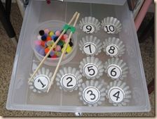 Pompom Counting. Children will sort colored pompoms into numbered cupcake liners. By using chopsticks, children will also develop their fine motor skills. {Pre-k} {Individual}
