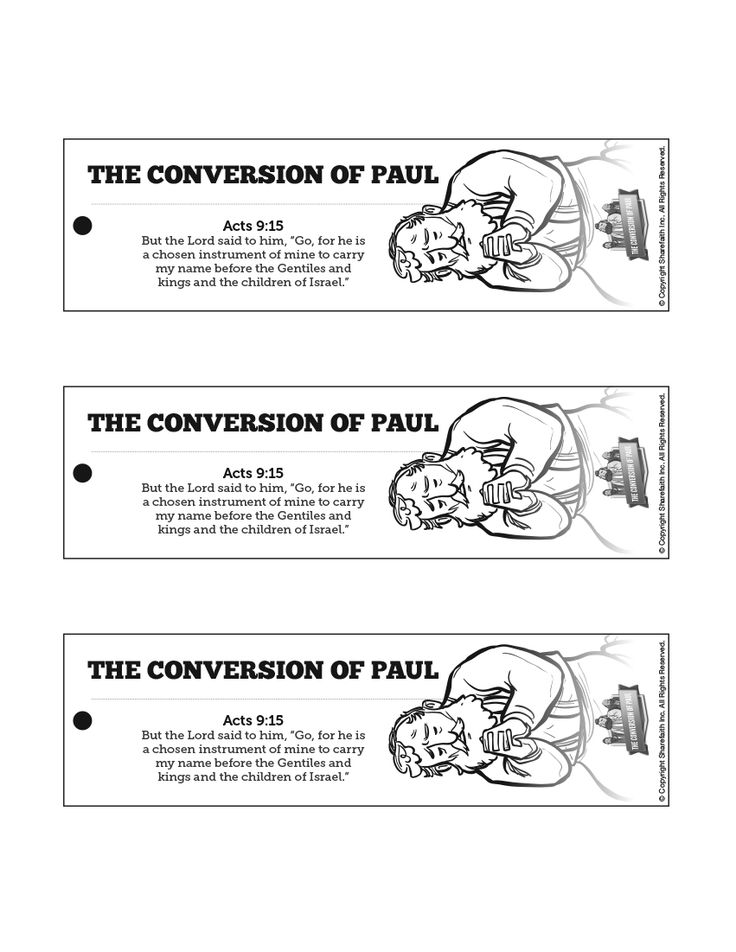 Acts 9 Paul's Conversion Bible Bookmarks: The amazing story of Paul's conversion is worth reading again! Encourage your kids to read Acts 9 on their own by sending them home with these Paul's conversion bookmarks.