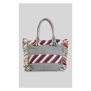 Manzoni Woven Fringe Tote, in Blue/Multi on Whistles