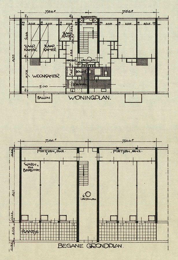Blijdorp: floor plan dwelling J.J.P. Oud, 1931. NAI Collection, OUDJ bd18