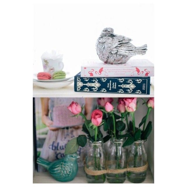 Sally Bay, roses, pink, floral, birds, blue, macaron, teacup, cake, alice in wonderland, great expectations, bright