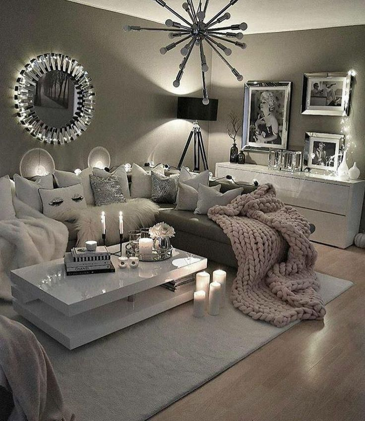 Love This Decor Cool Grey Tones And Cozy Candles Give The Perfect