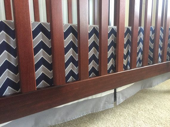 READY TO SHIP Navy Blue, Gray & White Chevron 3-Sided Crib Skirt with Bottom Border (Dallas Cowboys Baby Boy Football) Pleat on Long Side