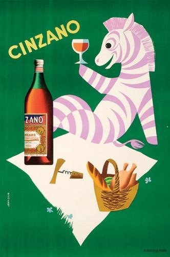 Vintage Poster - Paul Colin - Cinzano - Drink - Alcohol - Zebra - Green - Purple