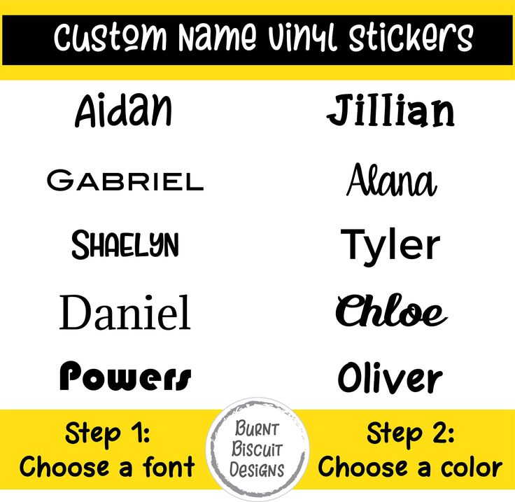 Custom Name Stickers * Name Decal * Custom Name Sticker for Personalization - Laptop Stickers, Water Bottle Stickers, Kids Name Stickers by BurntBiscuitDesigns on Etsy https://www.etsy.com/listing/569172978/custom-name-stickers-name-decal-custom