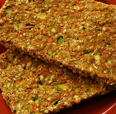 Raw Zucchini Carrot Bread -     3 Cups Sprouted Wheat Berries,  1 C Flax Seeds, ground,  3 small zucchini,  3 Carrots,  1 Shallot