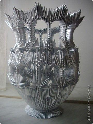 3dorigami silver vase