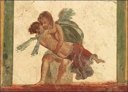 Eros e Psiquê, século I afresco Pompéia