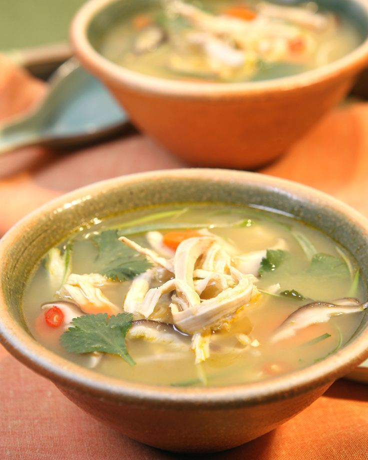 Thai Chicken Soup | Martha Stewart Living - In a medium saucepan, bring chicken stock to a boil. Add the lime leaves, lemongrass, ginger, scallions, curry powder, cumin, chiles, chicken, mushrooms, and fish sauce.