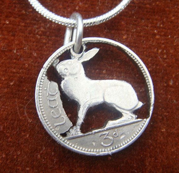 Cut coin necklace  1961 silver threepence depicting by Pixiejools