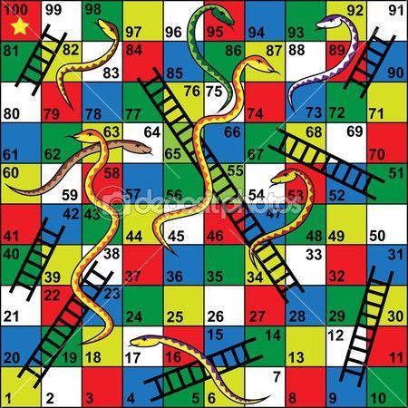 Gra planszowa węże i drabiny — Ilustracja stockowa #41641431