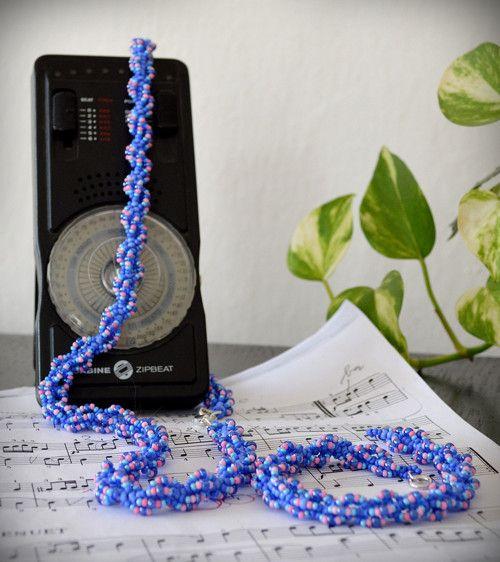 Souprava náhrdelník, náramek modrý