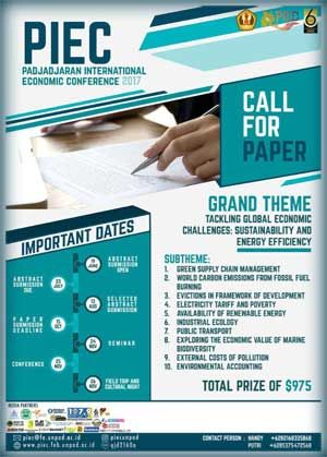 #CallForPaper #PIEC #UNPAD #Bandung PIEC Padjadjaran International Economic Conference 2017 Call For Paper  DEADLINE: July 23rd, 2017  http://infosayembara.com/info-lomba.php?judul=piec-padjadjaran-international-economic-conference-2017-call-for-paper