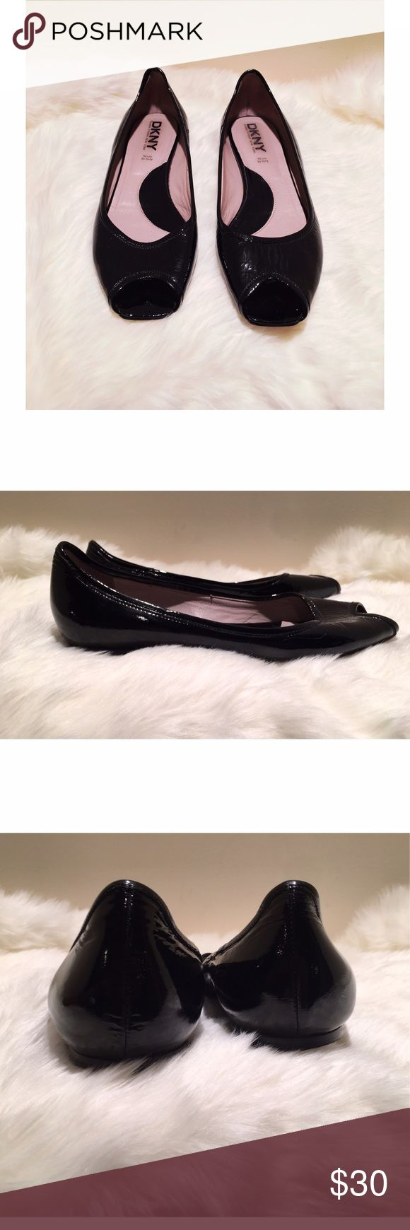 DKNY Patent Leather Peep Toe Flats •the are in great pre worn condition •Peep Toe flats in black •perfect for the office DKNY Shoes Flats & Loafers