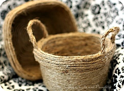 These are so neat ~ jute covered old tupperware containers , ie ones that dont have lids, stained, etc...   so cute!