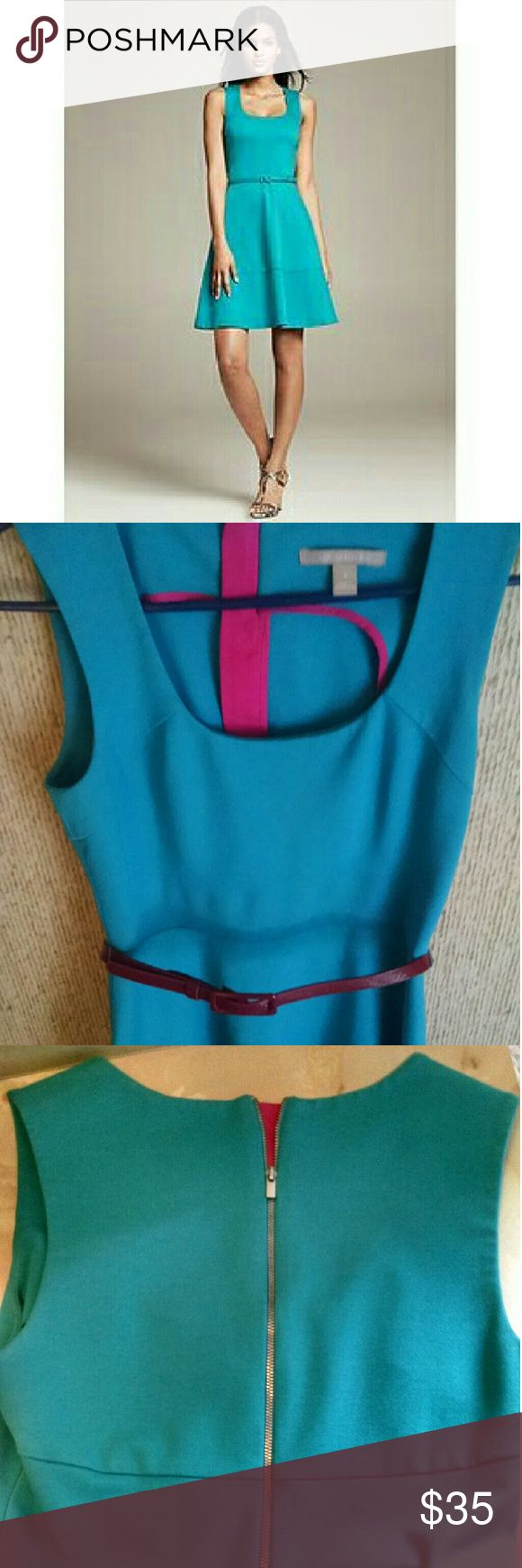 Banana Republic ponte dress Turquoise fit and flare dress from banana republic. Exposed zipper in back. Pink details on inside that can be exposed by partially zipping up.  Worn a few times but in excellent condition. Has string belt loops but not the original belt.  Will include the red belt as pictured in second pic.   1st pic is from retailer, for reference only Banana Republic Dresses Mini