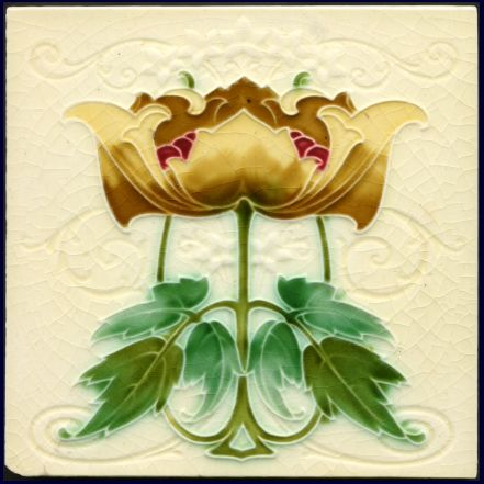 Art Nouveau Majolica Tile - Date: 1908 (design registered)
