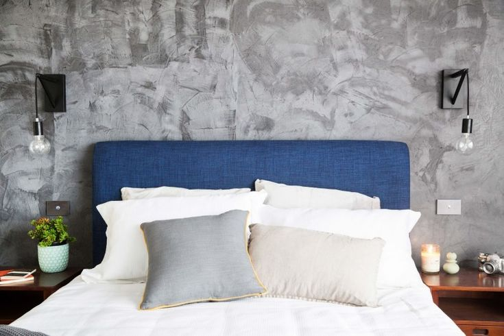 This textured rendered wall added instant mood to Caro and Kingy's bedroom on The Block. Neale also loved the blue upholstered bedhead which softened the look and colour palette in the room. Check out our wrap up with loads of photos from all The Block bedrooms and get tips on how you can create your own stylish bedroom!