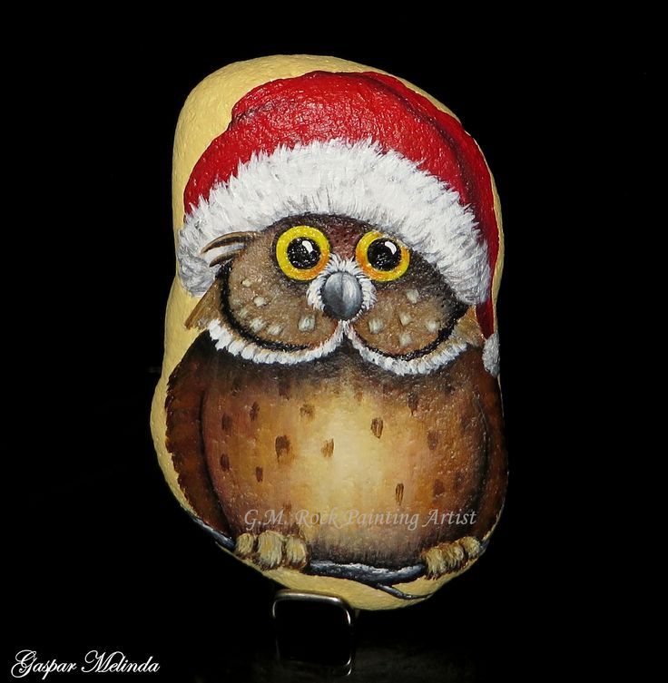 Painted rock Christmas owl!