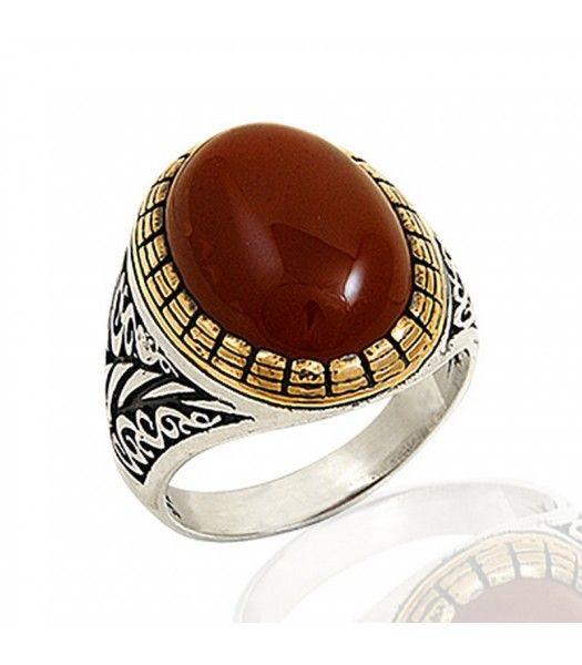 Gümüş 925 Ayar Akik Taşlı Erkek Yüzüğü EY176