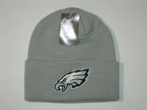 Authentic NFL Philadelphia Eagles Gray Classic Logo Cuffed Knit Beanie Hat Cap