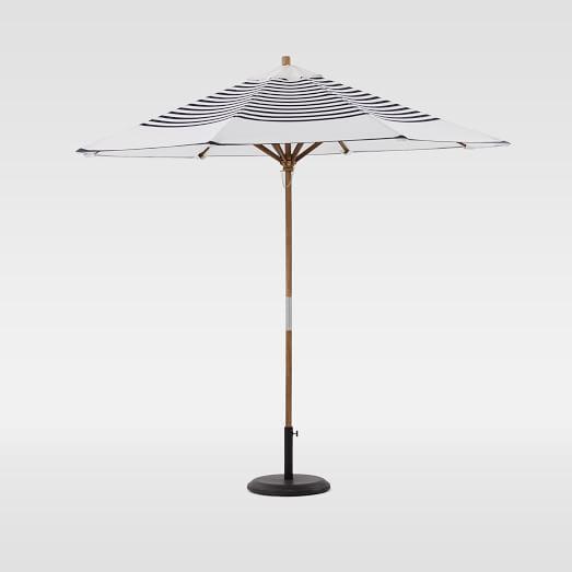 Round Wooden Umbrella   Navy Stripe | West Elm