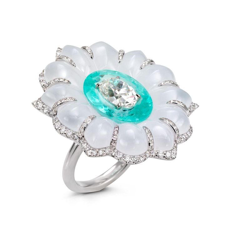Boghossian Paraiba tourmaline, diamond and white chalcedony high jewellery flower ring. http://www.thejewelleryeditor.com/jewellery/article/boghossians-daring-creations-are-perfect-reason-visit-masterpiece/ #jewelry