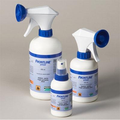 Antiparasitario Externo Frontline Spray.     Disponible en 3 tamaños: 100ml, 250ml, 500ml.    Frontline Spray es un producto lider en la prevención y tratamiento de las infestaciones por ectoparásitos del perro y del gato (pulgas, garrapatas y piojos chupadores).