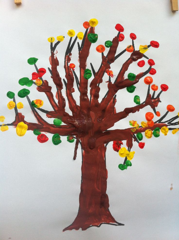 Thema herfst. Herfstboom vingerverf.