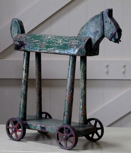 A folk art wooden horse,