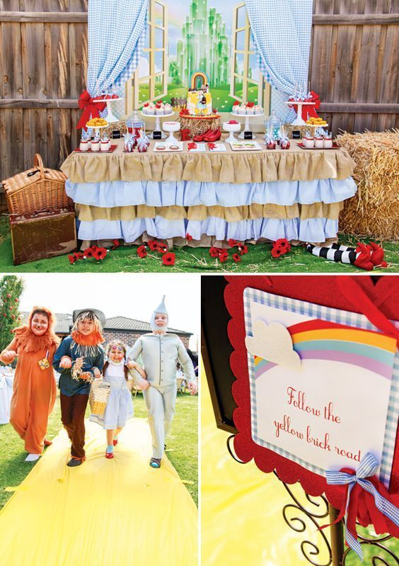 A magical Wizard of Oz birthday party complete with yellow brick road and character costumes! | birthday party ideas |
