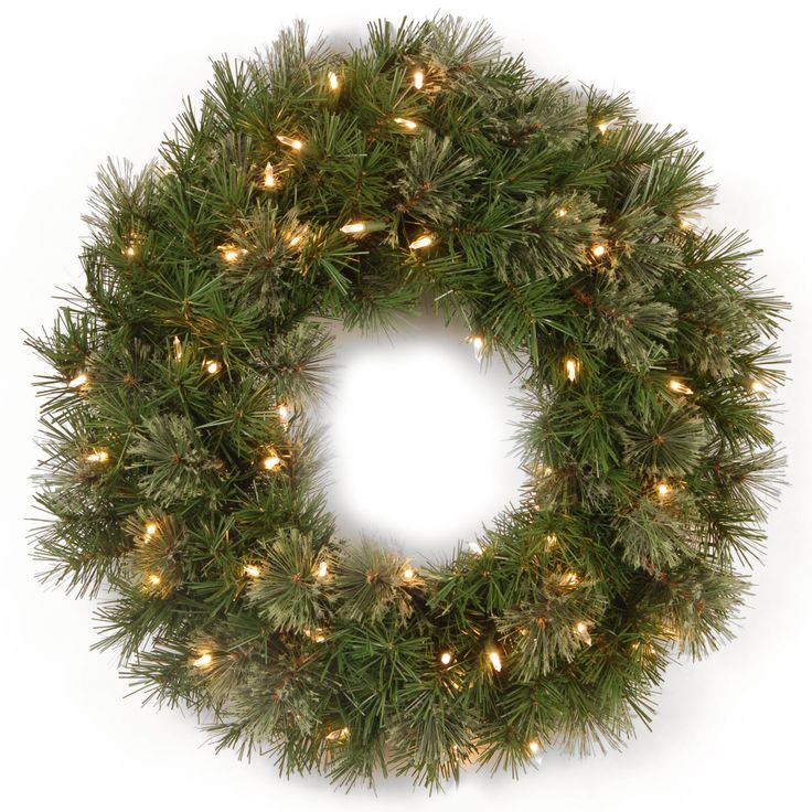 National Tree Company 24-inch Atlanta Spruce Wreath with 50 Clear Lights