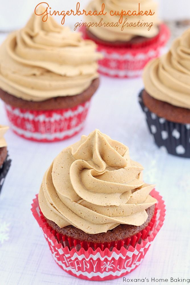 Gingerbread Cupcakes Topped with a Sweet Molasses and Ginger Spiced Buttercream Frosting.