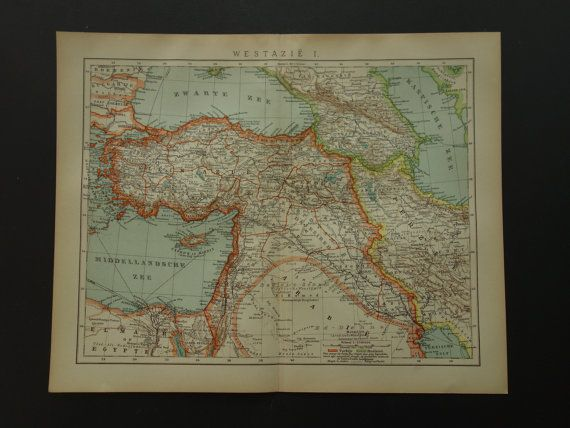 TURKEY antique map of Persia Armenia  lovely by DecorativePrints